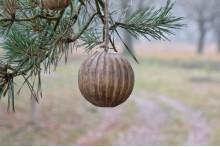 Houten decoratie bal aan een touw L