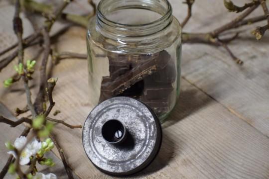 Glazen pot met kaarsdeksel S