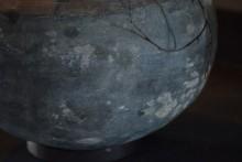 Oude grijze wankel pot