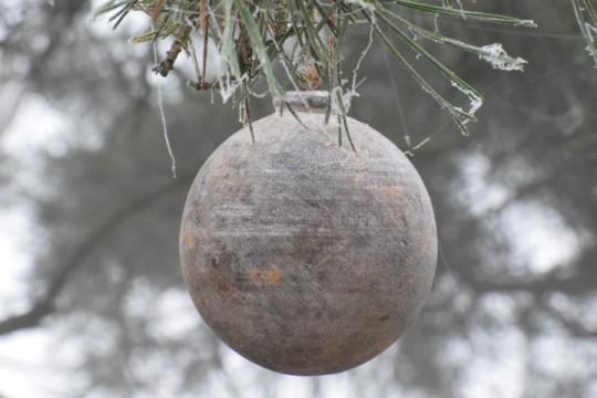 Houten ornament gold/white