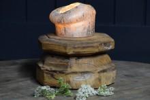 Robuuste houten poer kandelaar